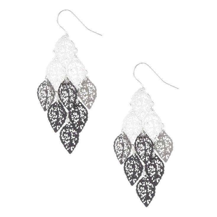 Silver & Black Filigree Leaves Drop Earrings,