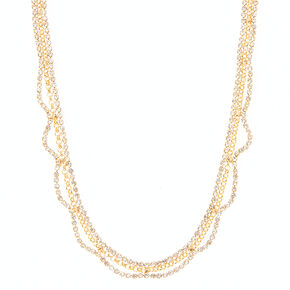 Gold & Crystal Chain Necklace,