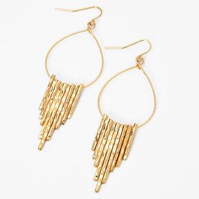 """Gold 3"""" Hammered Teardrop Drop Earrings,"""