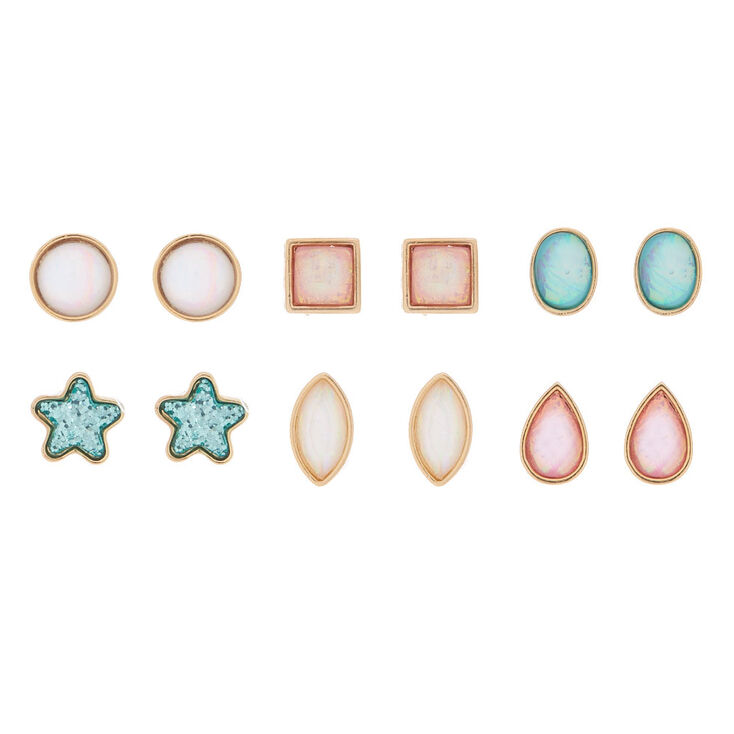 Holographic Shapes Stud Earrings - 6 Pack,