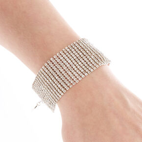 Wide Simulated Crystal Bracelet,