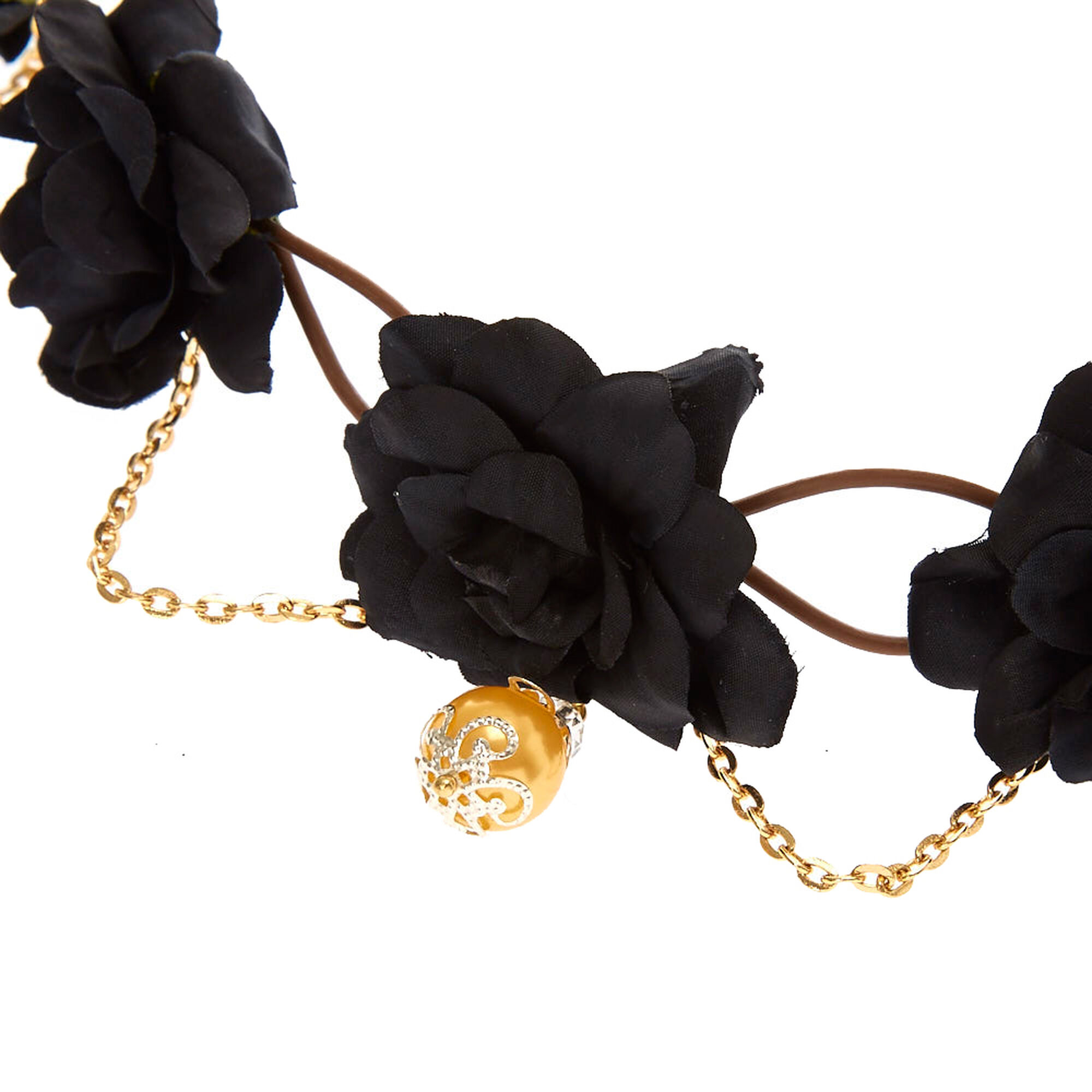 Gold chain black flower crown icing us gold chain black flower crown izmirmasajfo