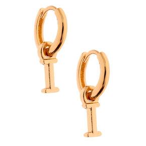 Gold 10MM Initial Huggie Hoop Earrings - I,