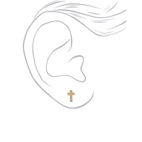 18kt Gold Plated Crystal Cross Stud Earrings,