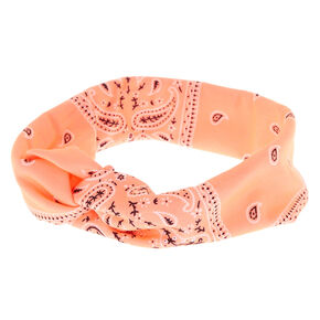 Paisley Bandana Headwrap - Coral,