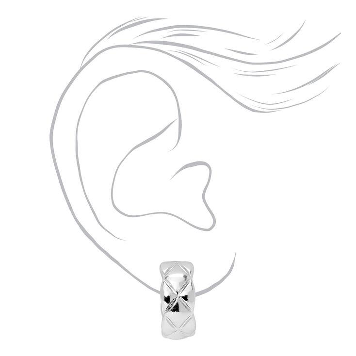 Silver 20MM Quilted Hoop Earrings,