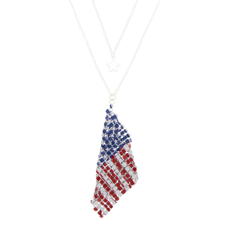 Silver Star & Mesh Flag Pendant Necklaces - 2 Pack,