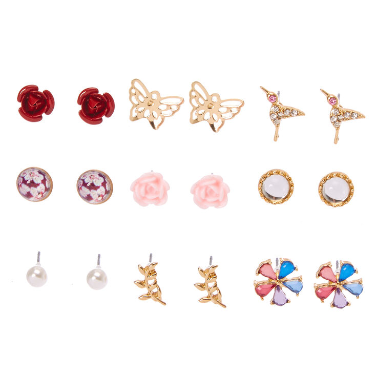 Gold Tone Butterfly Garden Motif Stud Earrings,