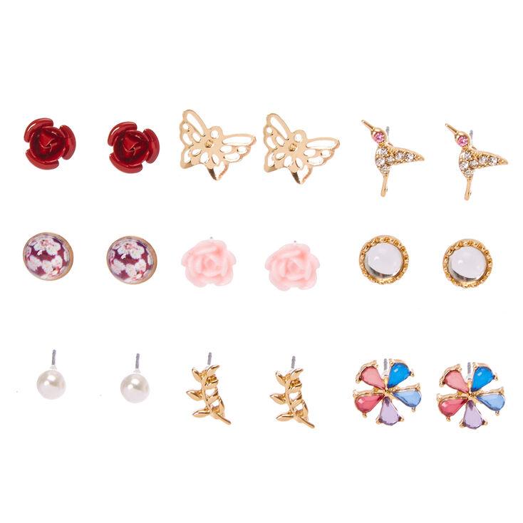 Gold Tone Butterfly Garden Motif Stud Earrings,