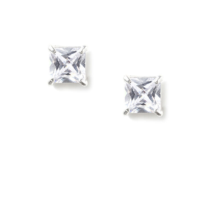 Sterling Silver Cubic Zirconia Stud Earrings,