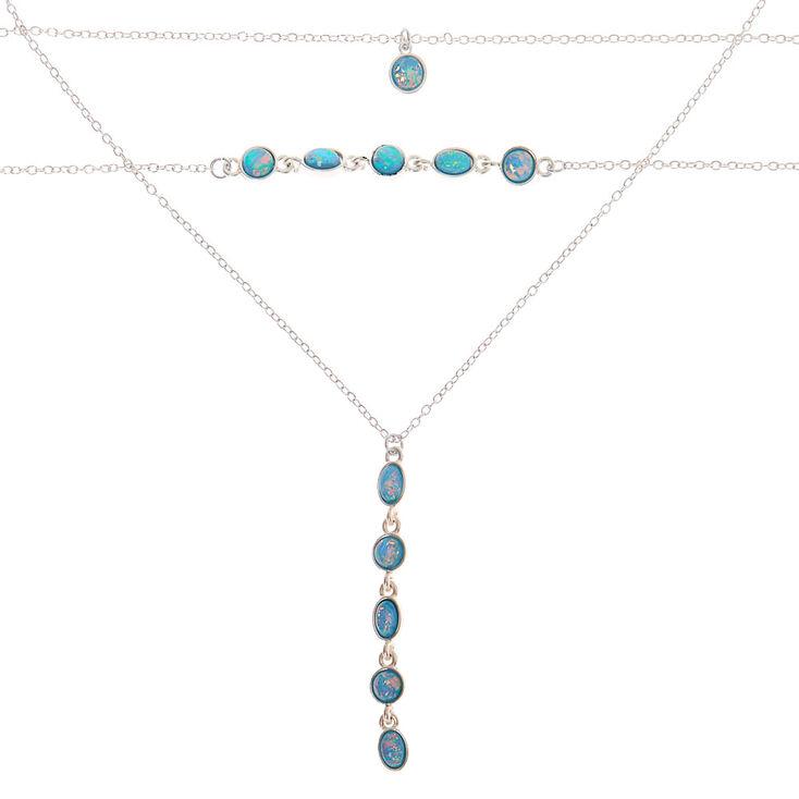 Silver Shimmer Stone Multi Strand Choker Necklace - Aqua,