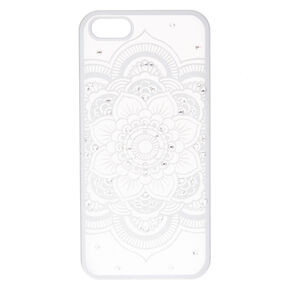 Silver Flower Mandala Phone Case - Fits iPhone 6/7/8 Plus,