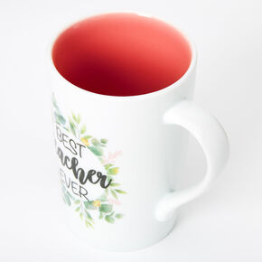 Best Teacher Ever Floral Ceramic Mug - White,