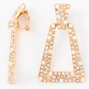 "Gold 1"" Crystal Pearl Door Knocker Clip On Drop Earrings,"