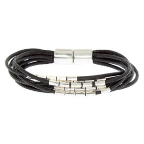 Silver Beaded Wrap Bracelet - Black,