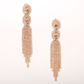 "Rose Gold 4"" Rhinestone Infinity Fringe Drop Earrings,"