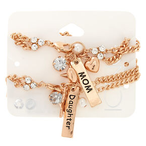 Mom Daughter Rose Gold-Tone Charm Bracelets,