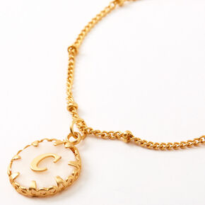Gold Shell Initial Pendant Necklace - C,