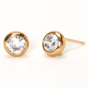 18kt Gold Plated Cubic Zirconia 7MM Round Bezel Stud Earrings,