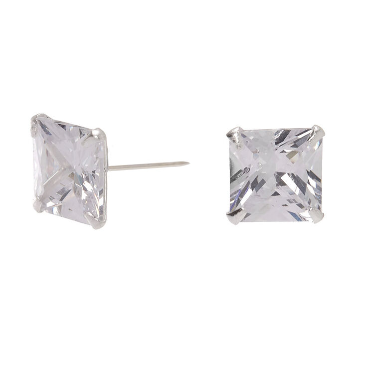 Sterling Silver Cubic Zirconia 8MM Square Martini Stud Earrings,