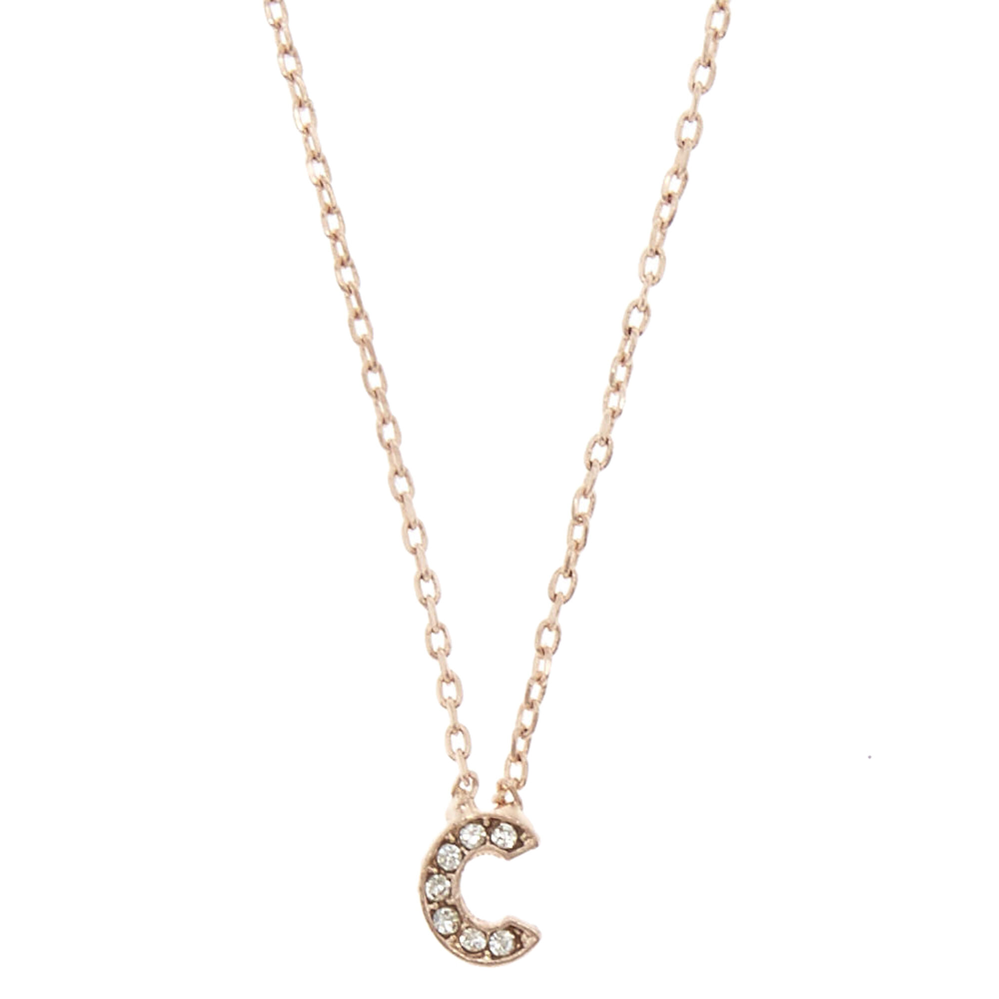 Rose gold tone c initial pendant necklace icing us rose gold tone quotcquot initial pendant aloadofball