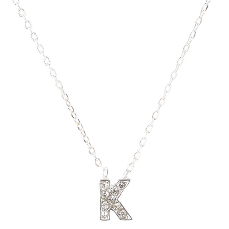 Silver Embellished Initial Pendant Necklace - K,