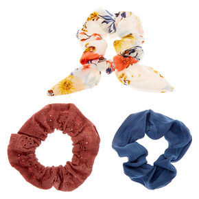 Small Dusty Floral Eyelet Hair Scrunchies - Ivory, 3 Pack,