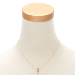 Rose Gold Cursive Initial Pendant Necklace - S,