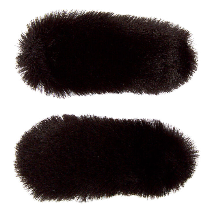 Faux Fur Snap Hair Clips - Black, 2 Pack,