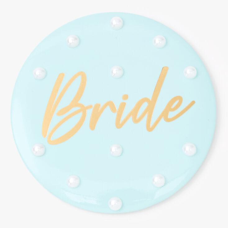 Light Blue Bride Button,