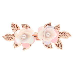 Rose Gold Sequin Flower Hair Barrette - White,
