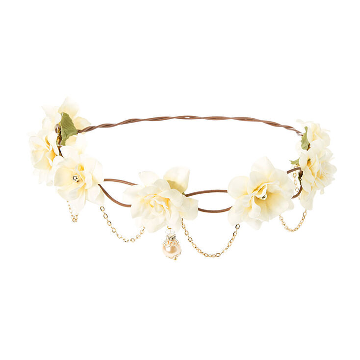 Bohemian Gold Chain Flower Crown - Ivory,