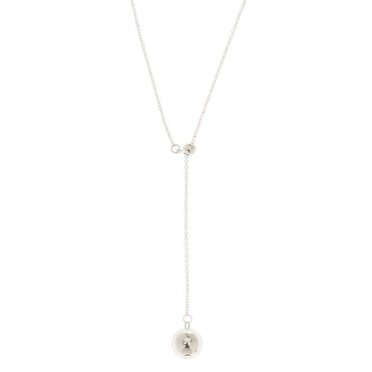Silver Ball Y Neck Necklace,