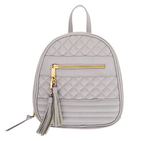 Mini Zippered Strap Quilted Backpack - Taupe,