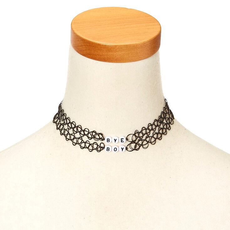 2 Pack BYE BOY Black Tattoo Choker Necklaces,
