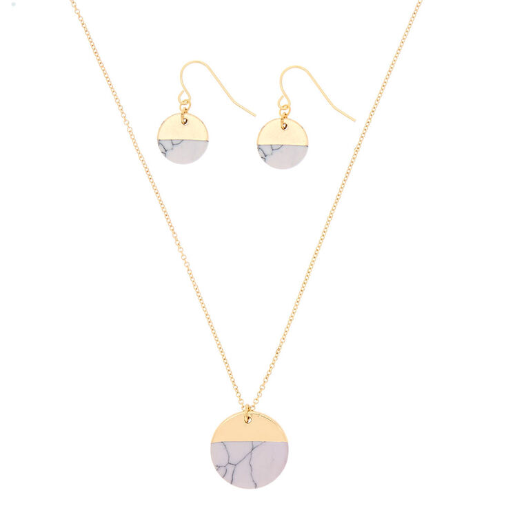 White Marble Circle Jewelry Set - Gold,