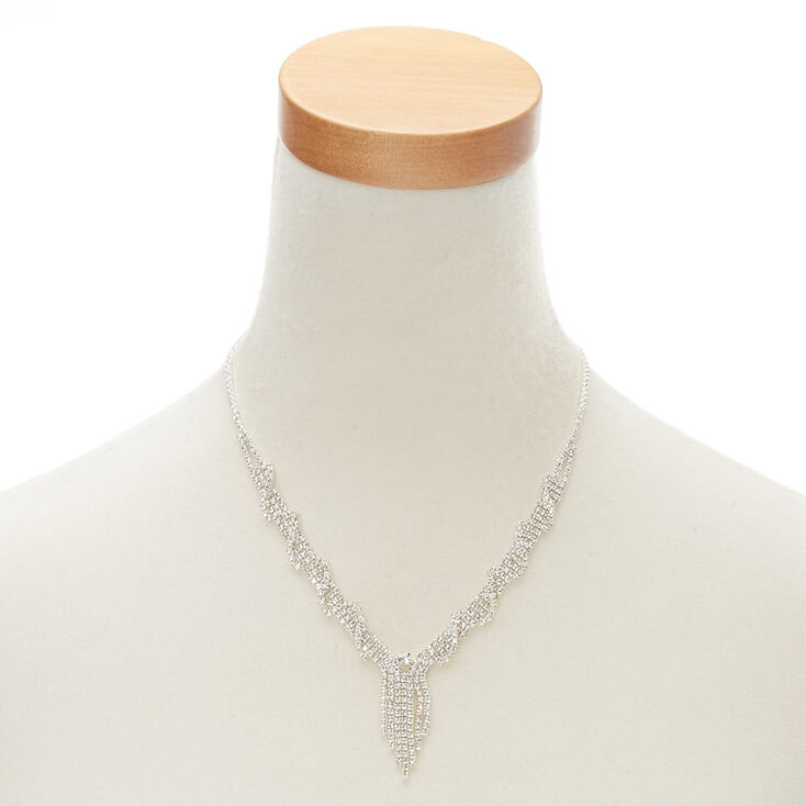 Silver-Tone Embellished Wrapped Necklace,