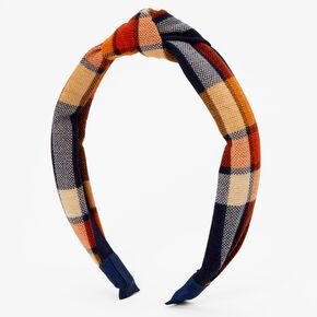 Orange, Navy & Red Plaid Knotted Headband,