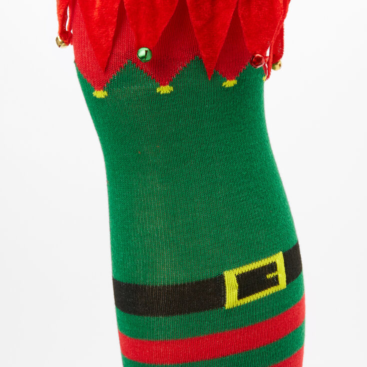 Striped Elf Over the Knee Socks - Green,