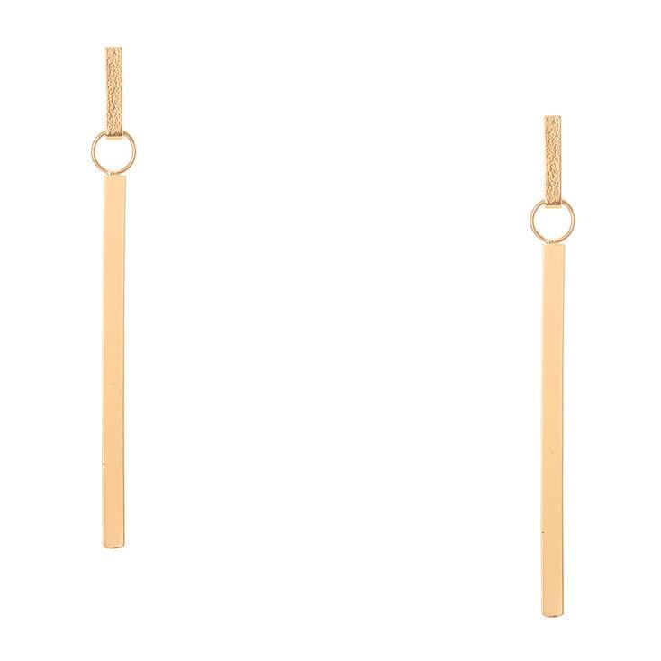 Long Sandblasted Bar Drop Earrings,