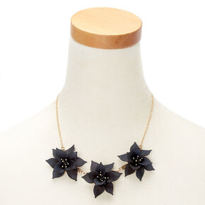 Petal Perfection Statement Necklace - Black,