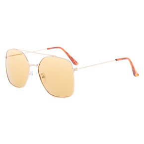 Square Aviator Sunglasses - Brown,