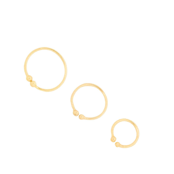 Graduated Gold Faux Nose Hoop Rings  - 3 Pack,