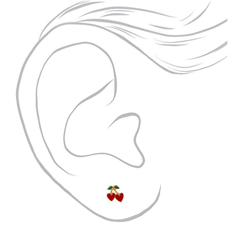 Gold Cherry Heart Stud Earrings - Red,