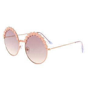 Rose Gold Round Daisy Sunglasses,