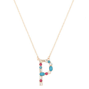 Embellished Long Initial Pendant Necklace - P,