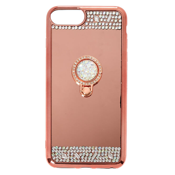 Rose Gold Mirrored Ring Stand Phone Case - Fits iPhone 6/7/8/SE,