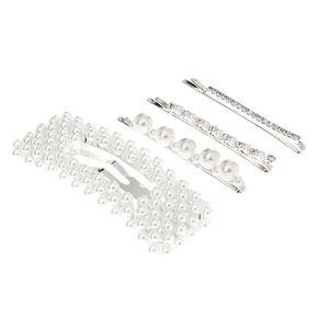 Silver Crystal Pearl Bobby Pins & Snap Clip - 4 Pack,