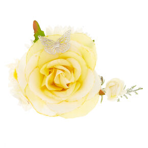 Bouquet Flower Hair Clip - Yellow,