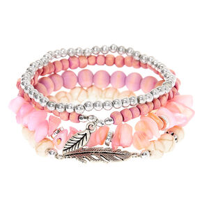 Wooden Bead Stretch Bracelets - Lavender, 4 Pack,